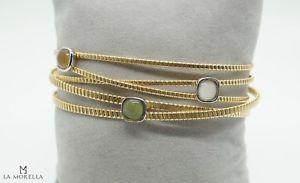 【送料無料】ブレスレット イエローシルバーブレスレットbracciale in argento giallo con quarzi verdi, gialli e bianchi