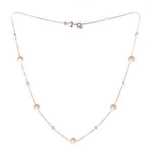 ブレスレット ネックレスホワイトゴールドcollana donna oro bianco con perle e zirconi  5025v178j