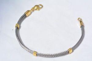 【送料無料】ブレスレット イエローゴールドktブレスレットスチールbracciale in oro giallo 18 kt e acciaio