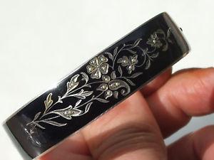 【送料無料】ブレスレット ブレスレットアルジェントノワールエンドtres beau bracelet ancien xixme en argent email noir et 12 perle fine