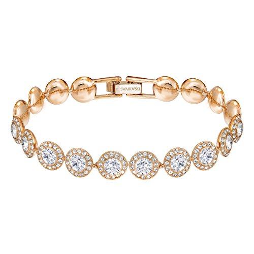 【送料無料】ブレスレット スワロフスキーブレスレットピンクswarovski braccialetto angelic, bianco, placcato oro rosa