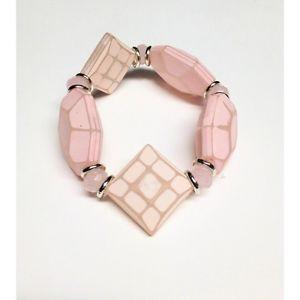 【送料無料】ブレスレット bracciale rosa elastico con resina di diverse forme, cristalli e anelli di caten