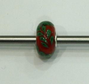 【送料無料】ブレスレット オリジナルクリスマスtrollbeads original authentic ooak unici natale 2014 6 rosso foglie verdi