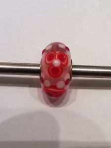 【送料無料】ブレスレット オリジナルガラスピンクガラスtrollbeads original authentic ooak uniciunique glass vetro rosa rosso bianco