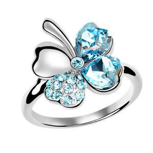 【送料無料】ブレスレット リングクリスタルスワロフスキーエレメントヘブンリーanello donna cristallo swarovski elements quadrifoglio celeste n86