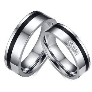 【送料無料】ブレスレット ステンレスシルバーブラックリング2 anelli di fidanzamento in acciaio inossidabile fedi fedine argentonero