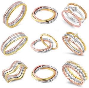 【送料無料】ブレスレット モジュラーリングピンクゴールドシルバーtre anelli componibili rosa oro e argento sterling 925 con diverse finiture