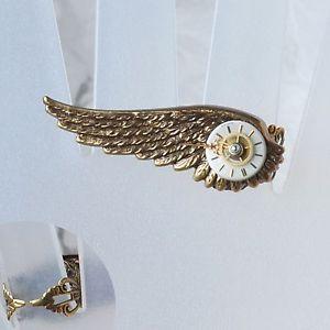【送料無料】ブレスレット リングウィングリングギアアラモポインタanello * wing anello dito * steampunk ottone quadrante denti ingranaggio ala puntatore