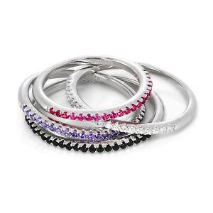 【送料無料】ブレスレット スターリングシルバースタッキングリングサイズargento sterling amp; cz crystal 1,5 mm met eternity anello impilamento taglia js
