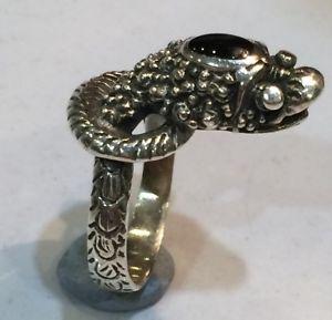 【送料無料】ブレスレット argento sterling nero onice testa di serpente serpente anello coda a spirale taglia k