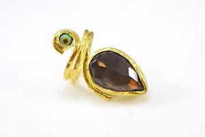 【送料無料】ブレスレット オスマンストーンリングスモーキーottoman gemme semi preziose gem stone anello oro placcato smoky evil eye handmde