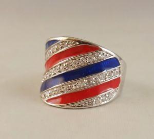 【送料無料】ブレスレット リングスターリングシルバークリアキュービックジルコンn anello [ 925 sterling silver amp; clear cubic zircon ] spogliato rosso e blu
