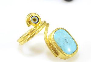 【送料無料】ブレスレット オスマンストーンリングゴールドメッキターコイズottoman gemme semi preziose gem stone anello placcato oro turchese evil eye handmde