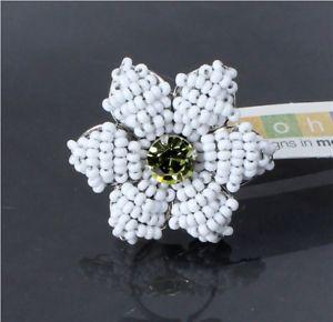【送料無料】ブレスレット ボームファブリックホワイトガラスセミレトロフラワーリングヴィンテージシルバースワロフスキーラベルbohm tessuto vetro bianco semi retr fiore anello vintage argento e swarovs