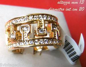 【送料無料】ブレスレット anello doppia corona placcata oro intarsiata strass misura 19 ita us 9