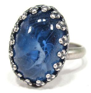 【送料無料】ブレスレット ビンテージリングベールsoho anello vintage altsilber bohemia 1960er anni ovale 1813 velo blu antico