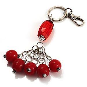 【送料無料】ブレスレット シルバーキーリングバッグカラーレッドコラcharm in argento e ceramica, con anello portachiavi e borsa, colore rosso cora