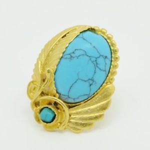 【送料無料】ブレスレット オスマンストーンターコイズリングaylas ottomano placcato oro semi preziosi gem stone anello turchese