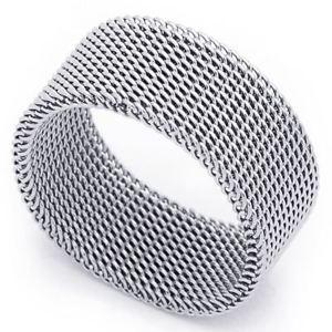 【送料無料】ブレスレット ステンレススチールリングメリヤスクロセ10 mm acciaio inox anello fede nuziale a maglia
