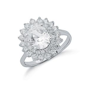 【送料無料】ブレスレット スターリングシルバーセットクリアクラスタリングサイズargento sterling con artiglio set ovale chiaro zirconi cluster anello, taglia k, sr0134