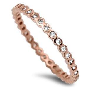 【送料無料】ブレスレット ローズゴールドスターリングシルバーリングrose gold plated sterling silver cz eternity anello