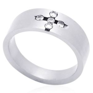 【送料無料】ブレスレット ステンレススチールリングフラット8 mm acciaio inox cinque cz anello fede nuziale piatta