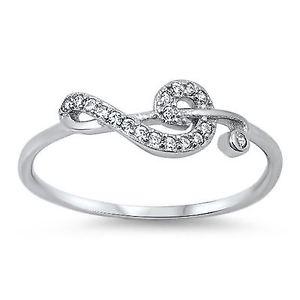 【送料無料】ブレスレット スターリングシルバーリングsterling silver cz anello nota musicale