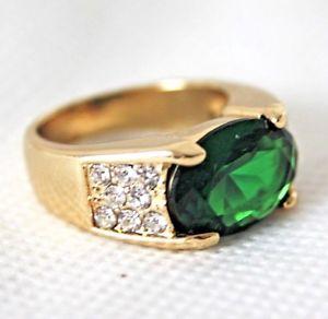 【送料無料】ブレスレット エメラルドグリーンゴールドリングkgptgアクセントverde smeraldo uomo donna anello oro 18 k gp tg 60 19,1mm accenti gest 925