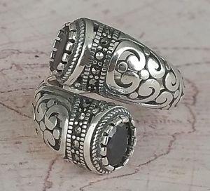 【送料無料】ブレスレット トルコソリッドスターリングシルバーリングauthentic turco solid 925 argento sterling anello da donna nero agate gemstone