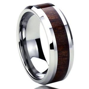 【送料無料】ブレスレット リングステンレススチール8 mm acciaio inox fede nuziale anello venature del legno intarsio anello