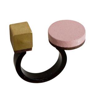 【送料無料】ブレスレット ウルフムーンピンクサークルウッドローズキューブオープンリングwolf amp; moon moderno rose rosa cerchio legno amp; ottone cubo aperto anello, regalo per le