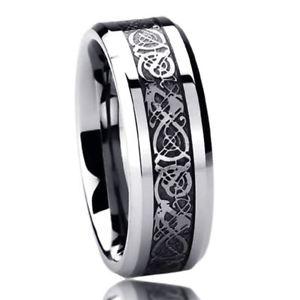 送料無料 ブレスレット ステンレススチールケルトリングドラゴン8mm acciaio inox fede nuziale anello celtico anello dragon intarsiatoj534LAR