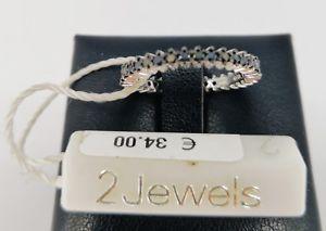 【送料無料】ブレスレット リングシルバーブラックスワロフスキー2 jewels anello donna argento 925 zirconi swarovski neri misura 11 fede veretta
