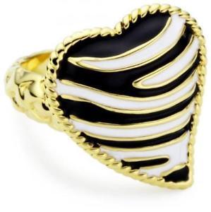 【送料無料】ブレスレット リングキャバリゼブラスチールハートゴールドブラックホワイトサイズanello just cavalli zebra sci9080 acciaio cuore gold bianco nero misura 10 12