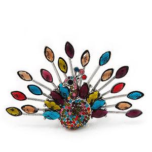 【送料無料】ブレスレット マルチカラーピーコックフレックスメタルリング…splendido multicolore strass pavone flex anello in metallo argento 75cm lunghezza