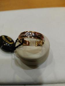 【送料無料】ブレスレット シルバーサイズリングanello fede in argento 925 bicolore con zirconi , nuova, misura 23