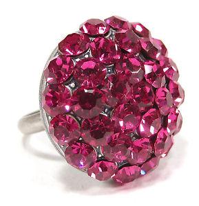 【送料無料】ブレスレット ビッグラインストーンリングピンクsoho grande anello strass cristalli lucidata fuxia rosa altsilber emisfero