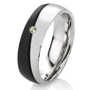 【送料無料】ブレスレット リングステンレススチールリングペリドットリングanello di fidanzamento fede anello da donna con peridot in acciaio inox con anello incisione es56