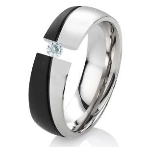 【送料無料】ブレスレット リングステンレススチールリングanello di fidanzamento da donna anello in acciaio inox con zirconi e anello incisione es44