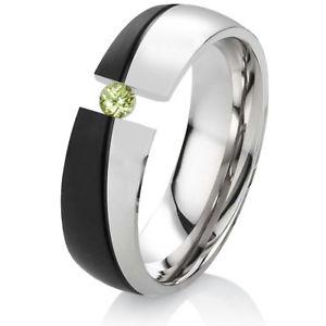 【送料無料】ブレスレット リングステンレススチールリングペリドットリングanello di fidanzamento fede anello da donna con peridot in acciaio inox con anello incisione es48