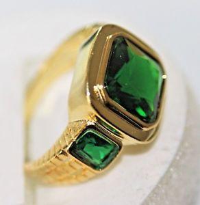 【送料無料】ブレスレット リングマンゴールドkエメラルドグリーンφvalore esclusivo grande anello uomo oro 18 k gf gest 750 verde smeraldo mis 67 21,3