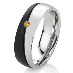 【送料無料】ブレスレット リングステンレススチールリングリングanello di fidanzamento fede anello da donna con citrin in acciaio inox con anello incisione es57