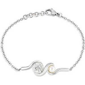 【送料無料】ブレスレット カフスチールパールブレスレットbracciale donna morellato luminosa acciaio saet13 bracelet perla zirconi