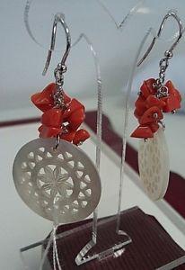 【送料無料】ブレスレット サンゴイヤリングパールシルバーorecchini in corallo, madreperla e argento 925