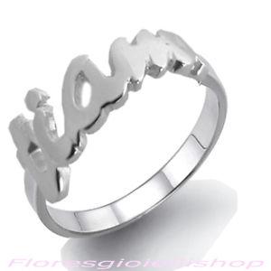 【送料無料】ブレスレット ソリッドシルバーリングフローレスリングanello con scritta ti amo in argento massiccio, love ring firmato flores