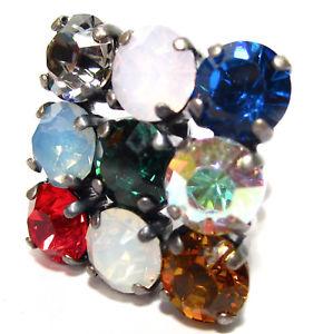 【送料無料】ブレスレット スクエアリングマルチカラーsoho anello quadrato lucidata cristalli colorato multi kunterbunt multicolor