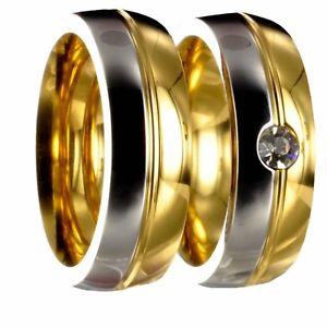 【送料無料】ブレスレット ステンレススチールカラーゴールドシルバーリングリングリング2 x anello in acciaio inossidabile bicolori oroargento fedi fedi nuziali incl incisione 40p17