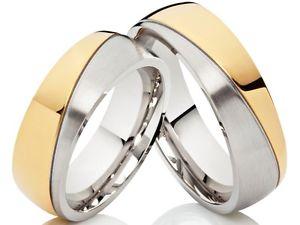 【送料無料】ブレスレット ステンレススチールサービス2 nuziali vere bicol di fidanzamento fedi in acciaio inox bicolore amp; incisione gratis