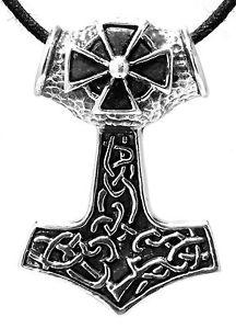 【送料無料】ブレスレット トールアイロンクロスシルバーストラップペンダントネックレスハンマーnuova inserzione 151 martello di thor croce ferro argento 925 cinturinociondolo collana