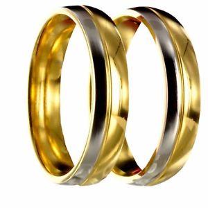【送料無料】ブレスレット ステンレススチールシルバーゴールドリング2 in acciaio inox bicolori argentooro di fidanzamento fedi nuziali incl incisione 20p168